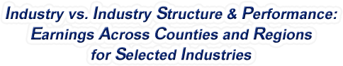 California - Industry vs. Industry Structure & Performance: Employment Across Counties and Regions for Selected Industries